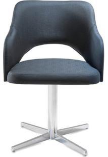 Poltrona Arty Assento Estofado Dunas Preto Base Fixa Em Aluminio - 55900 - Sun House