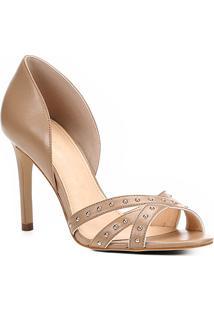 fbd0dcd554 ... Peep Toe Couro Shoestock Salto Fino Tiras Cravos - Feminino-Nude