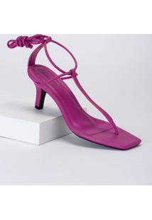Amaro Feminino Sandália Salto Fino T-Bar, Rosa Pink