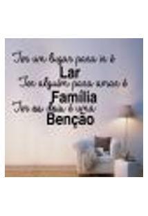 Adesivo De Parede Frase Família Benção - G 72X48Cm