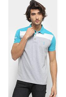 Camisa Polo Aleatory Listrada Masculina - Masculino-Verde+Cinza
