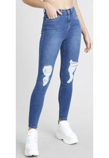 d81a71fd6 CEA. Calça Jeans Feminina Super Skinny Com Rasgos Azul Médio