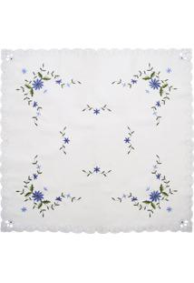 Toalha De Mesa Floral- Branca & Azul- 85X85Cm- Ssultan