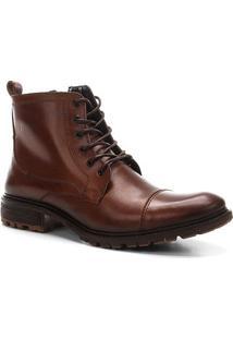 Bota Coturno Shoestock Couro Tratorada Masculina - Masculino-Caramelo