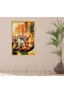 Quadro Love Decor Com Moldura Ville Panthã©On Madeira Clara Grande - Multicolorido - Dafiti