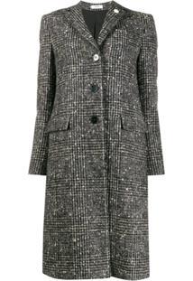 Lardini Checked Single Breasted Coat - Preto