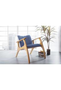 Poltrona Design De Madeira Estofada Azul Claro Smith Matelassê - Verniz Amendoa \ Tec.930 - 69X83X74 Cm