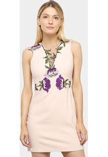 Vestido Lança Perfume Tubinho Patch Floral - Feminino-Nude