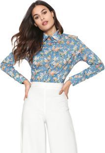 Camisa Dudalina Floral Azul