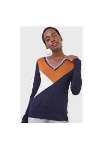 Blusa Marialícia Color Block Azul-Marinho/Bege