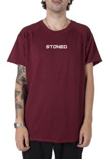 Camiseta Stoned Longline Gold Pump Bordô