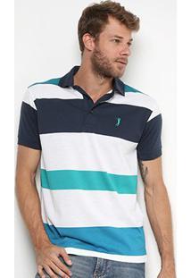 Camisa Polo Aleatory Fio Tinto Listras Masculina - Masculino-Verde+Azul