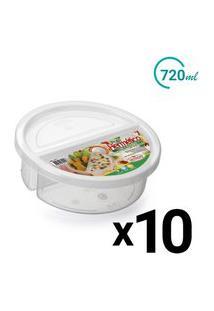 Conjunto Pote Microondas Freezer 2 Divisórias 720Ml 10Un