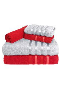 Jogo De Toalha 5 Peças Kit De Toalhas 2 Banho 2 Rosto 1 Piso Vermelha E Branca