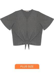 Blusa Feminina Plus Size Lurex Cinza