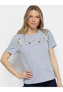 Camiseta Facinelli Bordada Pedras Feminina - Feminino