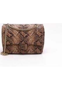 Bolsa Shoulder Bag Couro Snake Natural - M