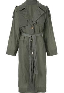 Blueflag + Kiminori Morishita Trench Coat Com Abotoamento Simples - Verde