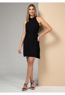 Vestido Clássico Preto Com Friso Em Cirrê