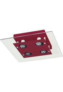 Plafon Quadrado 6053 10X24X24 4 Lâmpadas Transparente Pantoja&Carmona