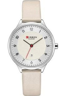 Relógio Curren Analógico C9035L Feminino - Feminino-Prata