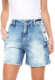 Bermuda Jeans Lez A Lez Reta Recortes Azul