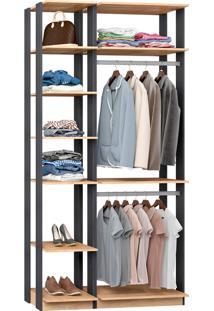 Closet Modulado C/ 2 Cabideiros Clothes 9005 - Be Mobiliário - Carvalho Mel / Espresso