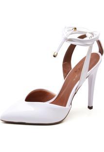 Sapato Ellas Online Scarpin Amarração Branco