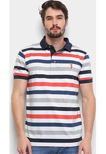 Camisa Polo Aleatory Listrada Masculina - Masculino-Branco+Marinho