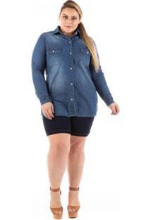 Camisa Jeans Plus Size Alongada Com Elastano Feminina - Feminino-Azul