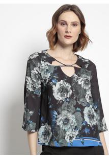 Blusa Floral Com Recortes- Preta & Verde- Tvztvz