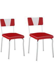 Conjunto Com 2 Cadeiras Retrã´ Vermelho E Branco