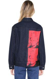 Jaqueta Jeans Utilitária Calvin Klein Jeans Andy Warhol Azul-Marinho