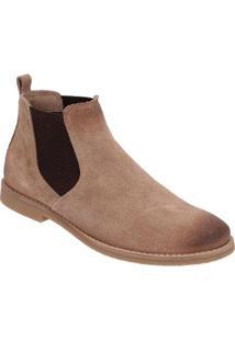 Bota Chelsea Camurça Escrete Boots Fechamento Em Elástico Masculina - Masculino-Areia