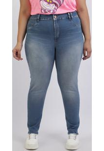 Calça Jeans Feminina Plus Size Sawary Cigarrete Levanta Bumbum Cintura Alta Azul Médio