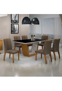 Conjunto De Mesa Com 6 Cadeiras Alemanha Iii Imbuia Mel E Marrom