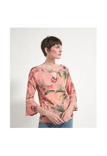 Blusa Bata Em Viscose Estampa Folhagens | Marfinno | Rosa | G