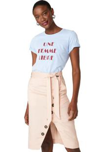 Amaro Feminino T-Shirt Une Femme Libre, Azul Claro