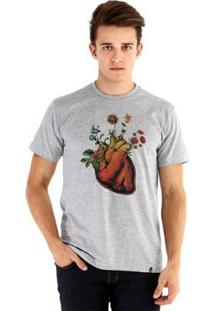 Camiseta Ouroboros Manga Curta Coração - Masculino-Cinza