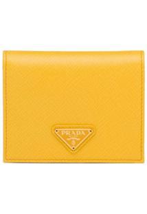 Prada Carteira Com Placa De Logo - Amarelo