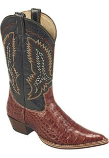 Bota Country Texana Exótica Silverado Couro Jacaré Mustang Masculina - Masculino-Preto+Marrom