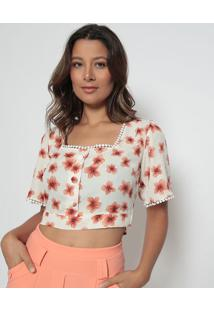 Blusa Cropped Floral- Bege & Laranja- Estilo Hestilo H