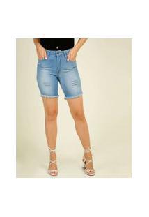 Bermuda Feminina Jeans Destroyed Barra Desfiada