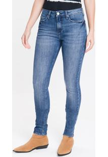 Calça Jeans Feminina Five Pockets Etiqueta Metalizada Cintura Média Azul Marinho Calvin Klein - 36