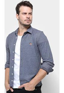 Camisa Rg 518 Bordado Malha Masculina - Masculino-Marinho