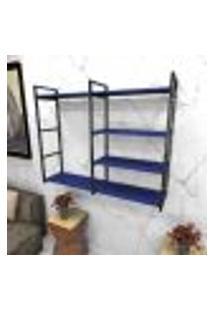 Estante Estilo Industrial Sala Aço Cor Preto 120X30X98Cm (C)X(L)X(A) Cor Mdf Azul Modelo Ind46Azsl