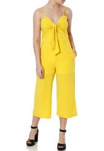 Macacão Pantacourt Feminino Amarelo