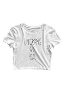 Blusa Blusinha Feminina Cropped Tshirt Camiseta Unicorns Are Real Branco