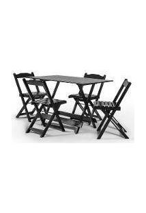 Jogo Com 4 Cadeiras Dobrável 120X70 Tabaco - Btb Móveis