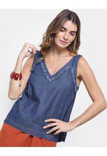 Regata Jeans Cantão Decote V Detalhe Defiado Feminina - Feminino-Azul Escuro